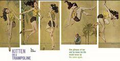 "Robert McGinnis illustration for John D. MacDonald's ""Kitten on a Trampoline"", The Saturday Evening Post, April 8 1961."