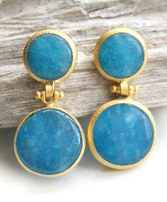 Torquoise blue jade n gold earrings by earringsfeelings