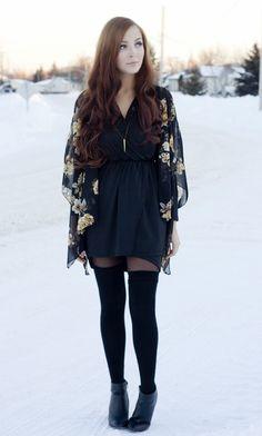Floral Kimono, Thigh High Stockings