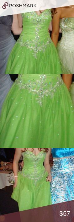 Green fully beaded prom dress Worn 1x such a fun dress with a sweetheart neckline tiffany designs Dresses Prom