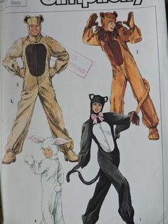 Animal Costumes Cat Lion Rabbit Bear with Hood Mittens Mane Vintage 1986 UNCUT Sewing Pattern Simplicity 7648 Adult Large Size 40 - 42 Chest Halloween Patterns, Costume Patterns, Sewing Patterns For Kids, Simplicity Sewing Patterns, Animal Costumes, Adult Costumes, Raggedy Ann And Andy, Cross Stitch Designs, Ribbon Bows