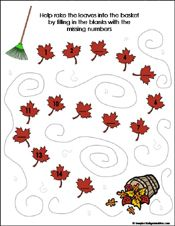 fall/autumn Preschool and kindergarten math worksheets
