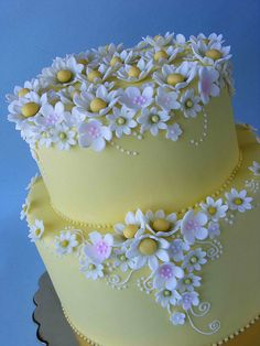 Daisy Cake by JessicaNicole. Such exquisite details! Yellow cake with white flowers. Gorgeous Cakes, Pretty Cakes, Cute Cakes, Amazing Cakes, Daisy Wedding Cakes, Daisy Cakes, Super Torte, Decoration Patisserie, Spring Cake