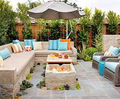 cooler, outdoor seating, coffee tables, concret idea, outdoor living spaces, small patio, backyard, outdoor spaces, patio ideas