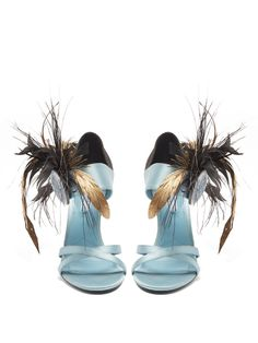 PRADA  Feather-embellished satin sandals