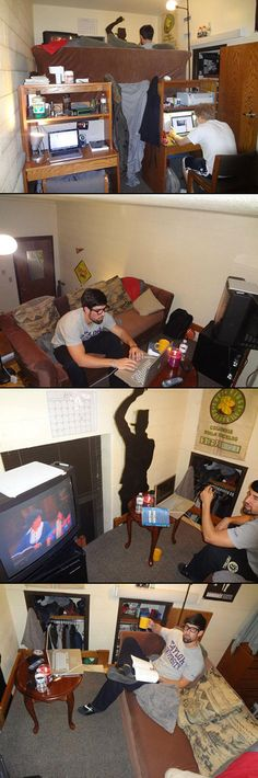 This is how geeks turn a college dorm room into a loft. Rood check out his T-shirt in the last photo. College Humor, College Dorm Rooms, Bedroom Apartment, Dorm Decorations, College Students, Kids Learning, Nerdy, Geek Stuff, Geeks