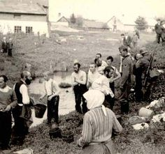 Lubicza, Poland, German Soldiers Forcing Jews to Undress and Carry Water from the River