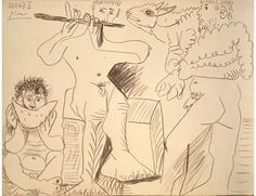 Pablo Ruiz Picasso (1899-1900), Homme à l'agneau, mangeur de pastèque et flûtiste. Llapis sobre paper, 50 x 65 cm, 1967.