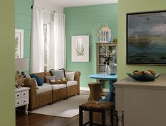 HGTV® HOME by Sherwin-Williams - Coastal Cool Collection - Recycled Glass (SW 7747), Restful (SW 6458), Fawn Brindle (SW 7640), Rapture Blue (SW 6773), Eider White (SW 7014)