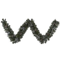 Frosted and Glittered Pine Christmas Garland with Lights