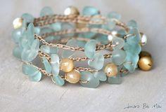 Wrap Bracelet  Crocheted Beachy Boho with by JonaraBluMauiJewelry, $30.00