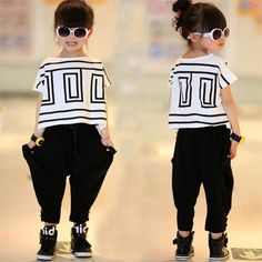 2016 top quality cool baby toddler big girls clothing set kids clothes summer style children t