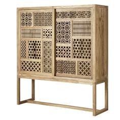 Teak Cut Out Storage Cabinet Furniture Makeover, Diy Furniture, Furniture Design, Repurposed Furniture, Painted Furniture, Knotty Pine Rooms, Furniture Doctor, Wood Burning Stencils, Basement Bar Designs