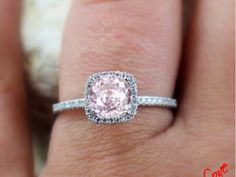 Beautiful rose pink wedding ring with a crown of white diamonds