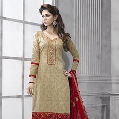 Beige Cotton Jacquard Churidar Kameez Eid Collection 7ee35ccf895