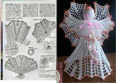 best 12  ღ ღ Crochet Angel Pattern, Vintage Crochet Patterns, Crochet Angels, Christmas Crochet Patterns, Crochet Snowflakes, Christmas Angel Decorations, Christmas Angel Ornaments, Christmas Crafts For Gifts, Crochet Chart