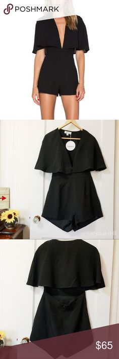 NWT Luvalot Bat-Wing Sleeve Romper New with tags black romper, open back with bat-wing sleeves. Us size 8. luvalot Pants Jumpsuits & Rompers
