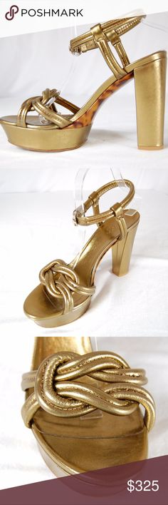 Gucci Metallic Gold Knotted 'Orchid' Heels Stunning metallic gold 'Orchid' twisted knot platform sandals with a chunky heel, open toe, and tortoise accents at shoe underside. The perfect companion for any night out (or in)! The unique thicker knotted details and ankle strap keep your feet secure in these platform chunky-heeled sandals. These are classy, unique and sexy! Very minimal wear on soles and minor scratches/scuffs on chunky heels. Toe insole is starting to come up on the left shoe…