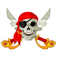 Pirate clip art, Clip art of a pirate's jolly roger flag with a skull wearing an eye patch and crossbones against a black background. Description from scrapbookingcoach.ewento.com. I searched for this on bing.com/images
