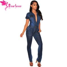 c658ff3dd1cc Dear Lover 2016 Fashion Macacao Jeans Longo Rompers Dark Denim Button Down Jumpsuit  Overalls Women Full Length Trousers LC64110-in Jumpsuits from Women s ...