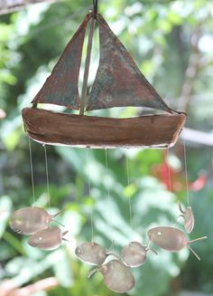 Seven Sailing Spoonfish - Copper and Drift wood Wind chime... LOVE LOVE LOVE!!!