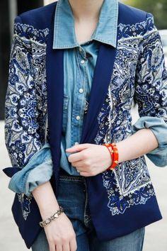 pattern jacket over denim shirt.