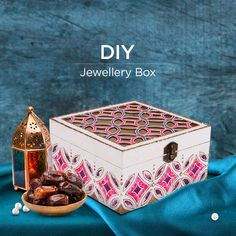 Here is a lovely gifting idea for Eid where a plain wooden box has been painted with glass colours and outliners and the result is just gorgeous! Jewellery Box Making, Jewelry Box, Plain Wooden Boxes, Fabric Glue, Acrylic Colors, Meaningful Gifts, Colored Glass, Crafts For Kids, Decorative Boxes