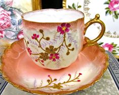 Limoges France Tea Cup and Saucer Beaded Gold Gilt Pink & Floral Painted Teacup