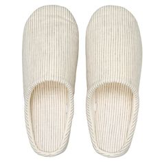 MUJI Linen Roomshoes Beige/White