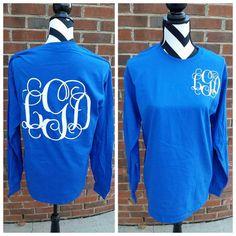 Large Vine Monogrammed Shirt - Back Long Sleeve Shirt - Monogrammed Shirt - Tshirt - Vine Mongoram