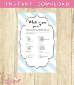 Blue and Silver Baby Shower What's in Your Purse Game by TppCardS