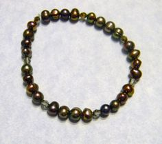 Gray and Bronze Freshwater Pearl and Crystal Stretch Bracelet