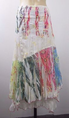 Size L 14 Ladies White Skirt Maxi Cocktail Boho Chic Feminine Wedding Design #NetGirl #Asymmetrical #Cocktail