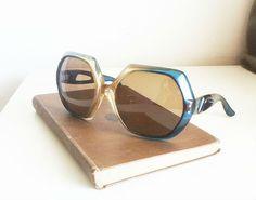 Blue Oversized Vintage Glasses by EridaneasBoutique on Etsy, $25.00