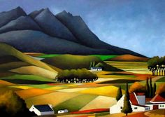 Painting by John Botham - Swellendam South African Artists, Paintings I Love, Landscape Art, New Art, Folk Art, Old Things, Arts And Crafts, Abstract, Illustration