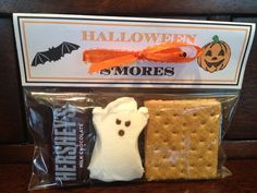 Halloween s'mores.  Inspired by a pin from mommyskitchen.net.  Made these for Hudson's school friends & playgroup friends for Halloween.