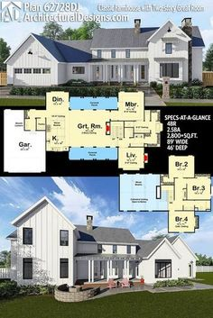 Architectural Designs Modern Farmhouse Plan 63728DJ gives you 4 beds, 2.5 baths and over 2,800 sq. ft. of heated living space and has a 2-story great room. Ready when you are. Where do YOU want to build? #62728DJ #adhouseplans #architecturaldesigns #houseplan #architecture #newhome #newconstruction #newhouse #homedesign #dreamhome #dreamhouse #homeplan #architecture #architect #housegoals #Modernfarmhouse #Farmhousestyle #farmhouse