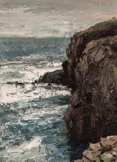 "Matthew J Cutter (b.1974) ~ ""Cliffs at Vik"" ~ Acrylic on Watercolor Paper  14.5""x10.5"""