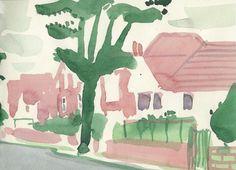 Beautiful watercolor sketches by David Hockney for his book 'A Yorkshire sketchbook. Easy Watercolor, Watercolor Sketch, Painting Wallpaper, Painting & Drawing, David Hockney Artwork, Pop Art Movement, Arte Pop, Art Graphique, Illustration Art