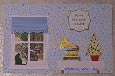 Embossed Stampin' Up Timeless Talk and Christmas tree.  Poppystamps window and cat dies.