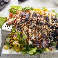 Try out this southwestern inspired salad using slow cooker shredded chicken for a spicy twist. This salad is hearty enough for a dinner and full of hubby approved ingredients.
