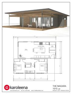The Niagara by Karoleena - 1015 sf home Tiny House Cabin, Modern House Plans, Small House Plans, Modular Home Floor Plans, House Floor Plans, Prefab Homes, Modular Homes, Small House Design, Modern House Design