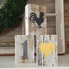 Reclaimed wood number block, heart and rooster.  Chippy paint blocks