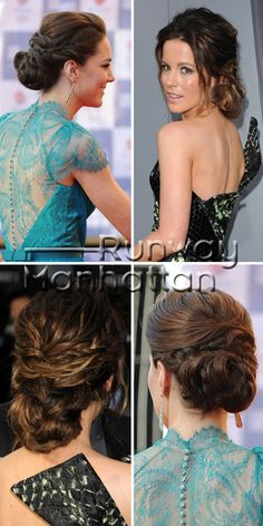 At the recent premiere of Total Recall, Kate Beckinsale showed up in an elegant updo, and interesting dress. The actress' loose look is similar to the one Kate Middleton wore to the Olympic Concert in London, with an ethereal blue dress.    The updo consists of a low bun, below two sections of hair which are taken from the side of the head. A discreet braid is also visible on both ladies, though the Duchess'...     Click to see the hairstyle.