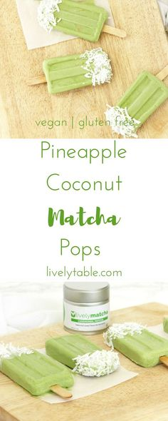 Tropical Pineapple Coconut Matcha Popsicles are the perfect cool treat on a hot day! Vegan, gluten free, and less than 60 calories each. (ad) | Via livelyable.com @livelytable