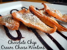 Chocolate Chip Cream Cheese Wontons - Looking for a quick appetizer or dessert? Try these wontons. They only take minutes to make and are incredible!