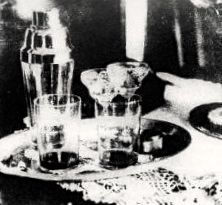 """[1922] """"William Desmond Taylor [enjoyed] an Orange Blossom cocktail [Gin & Orange Juice] with Mabel Normand a few hours before [being shot to death in the back]. They played the piano, discussed Nietzsche and Freud ...  Here's ...that very cocktail tray; can't you just imagine the bungalow swarming with over-excited photographers, the smell of flash powder, the utter sensation of it all?"""" (from link)"""