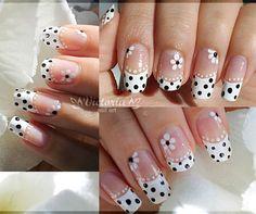 White and Black Flower French Tip Nail Art
