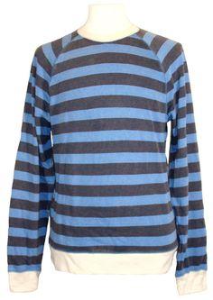 Lucky Brand Mens Shirt Sweatshirt Crewneck Striped Fleece Blue Sz L NEW $79.50 #LuckyBrand #SweatshirtCrew