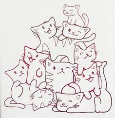 Pile o' Cute - Kitten Pile | Urban Threads: Unique and Awesome Embroidery Designs